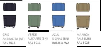 Colores disponibles contenedor 800L
